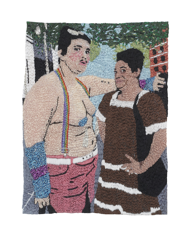 Ariel Speedwagon and Chicago Figueroa at the NYC Drag March , 2012, single-strand embroidery on cotton, 4 x 6""