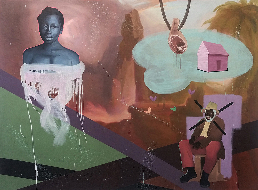 Expulsion , 2016, oil on canvas, 115 x 84""