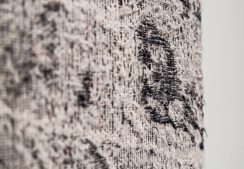 Die Leitung  (detail), 2016-2017, distressed, stretched Jacquard tapestry, 9 x 13ft