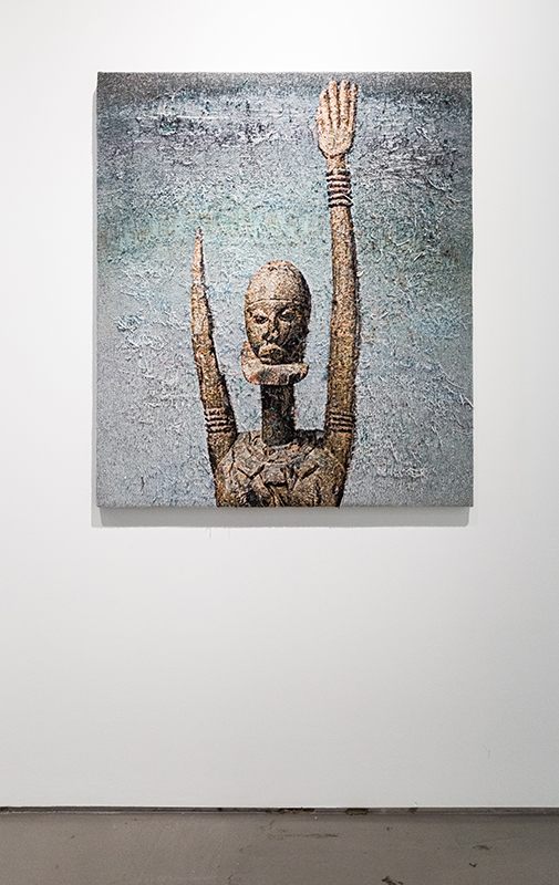 """Invagination  (Dogon), 2016-2017, distressed, stretched Jacquard tapestry, 49 x 41"""""""