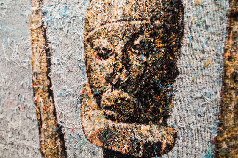 """Invagination (Dogon)  (detail), 2016-2017, distressed, stretched Jacquard tapestry, 49 x 41"""""""
