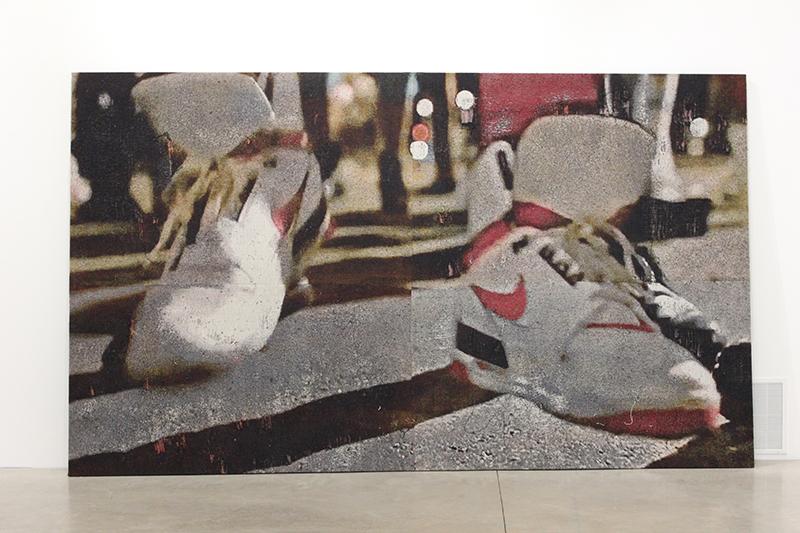 La Radio , 2017, distressed, stretched Jacquard tapestry, 9 x 13ft