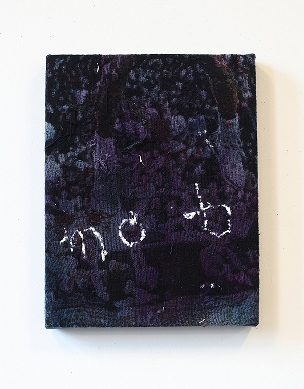 """mob,  2017, dye on bleached, distressed, stretched Jacquard tapestry, 15 x 18"""""""
