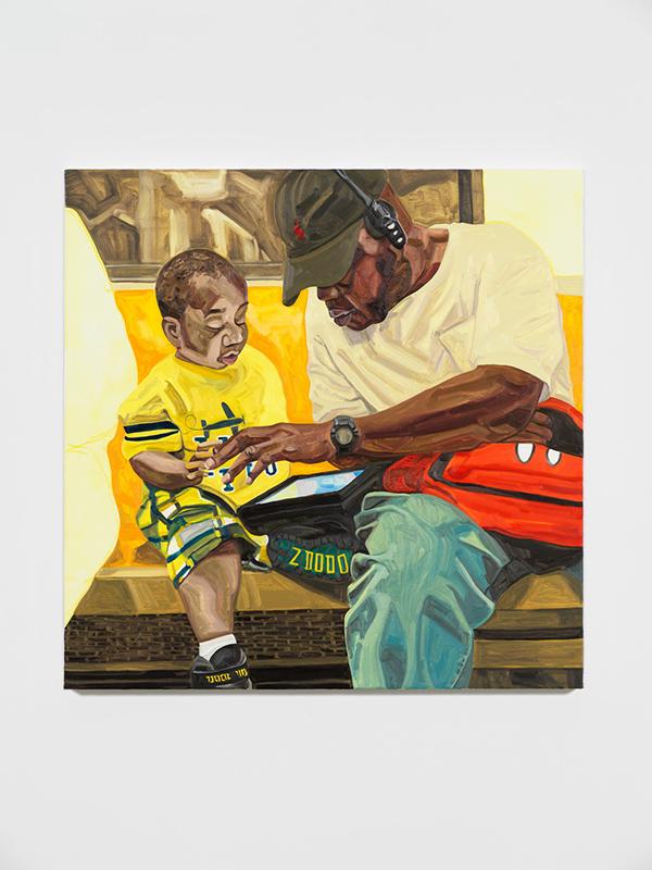 04_WEB_Little Gamer, oil on canvas, 45 x 45 inches, 2019 - Massiel Mafes.jpg