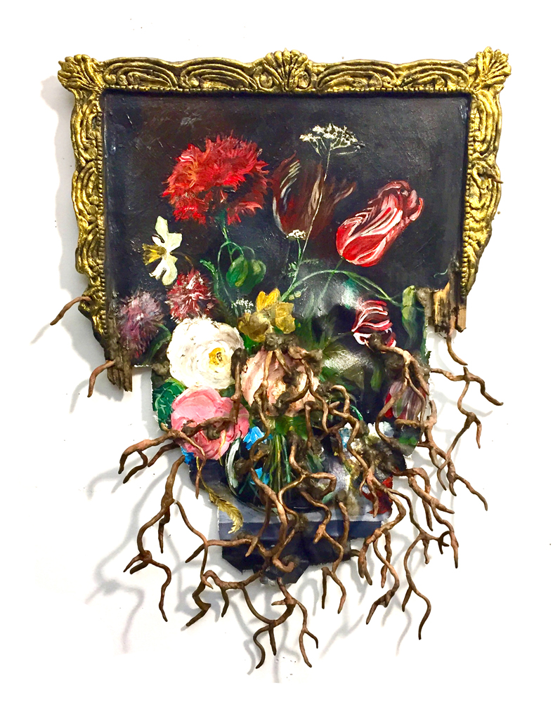 "Dutch Tulips with Roots,  2018  Canvas, stretcher, acrylic paint, wire, magic sculpt, Foamcore, glue  27"" x 20"" x 3"""