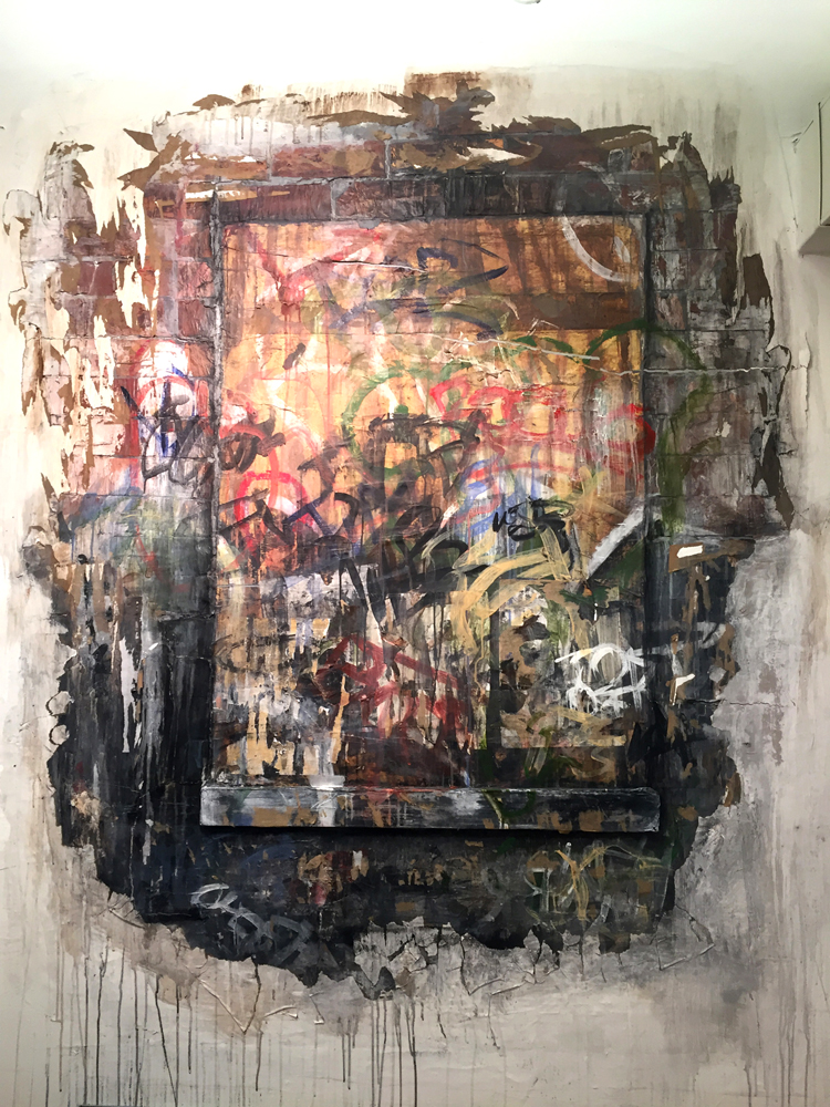 "Boarded Up Window, Brooklyn,  2018  Paper, Foamcore, latex and acrylic paint, Tyvek, glue  67""  x 57""  x .5"""
