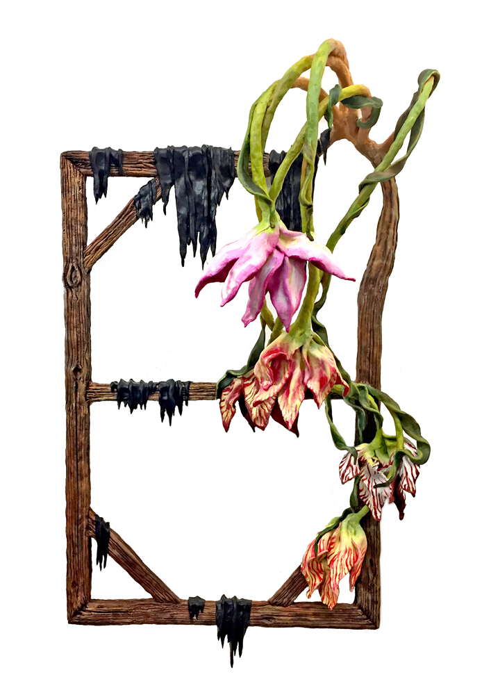 "Five Tulips with Frame Elegy , 2019  Wood, wire, foil, epoxy clay, acrylic paint  46""  x 27""  x 14"""