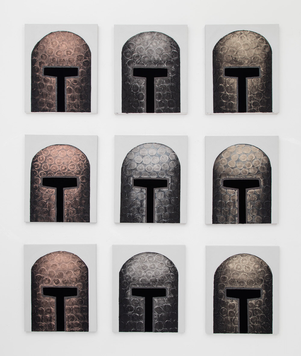 Certain Dark Things: Protection from Loss of Voice Helmets   Acrylic on canvas  Each panel 24 x 20 inches