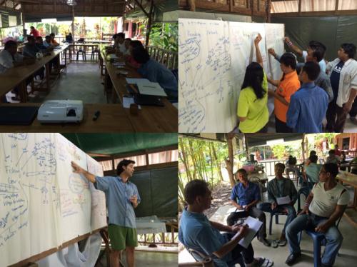 Josh Donlan y Michael Sorice de ACS dirigen un workshop sobre pensamiento de diseño en el sure de Thailandia con pescadores de pequeña escala.