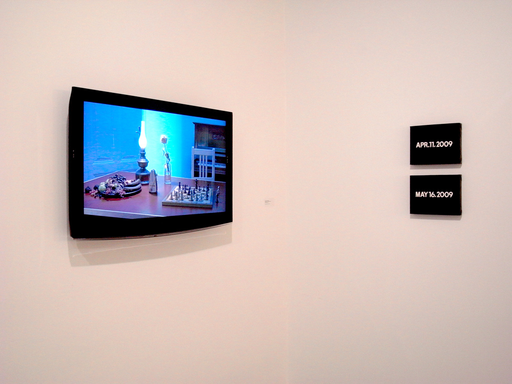 Installation view of Never Late Than Better