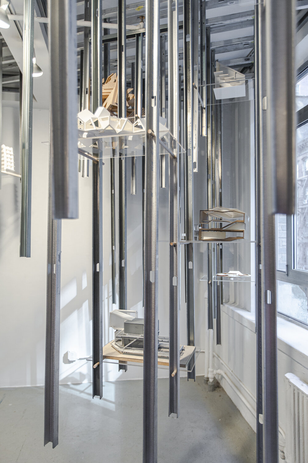 Dannielle Tegeder and Christian B. Lynch,  Utopian Ghost Model Archive , installation w. architectural models, dimensions vary, 2019.