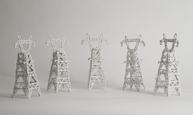 "Susan Graham Electrical Towers, 2012-2014 7.5"" x 3.5"" x 2.5"" glazed porcelain  courtesy of the artist"