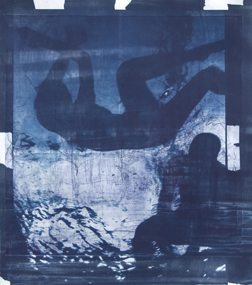 Dominique Saks   Fathoms , 2014 Cyanotype with etching monoprint