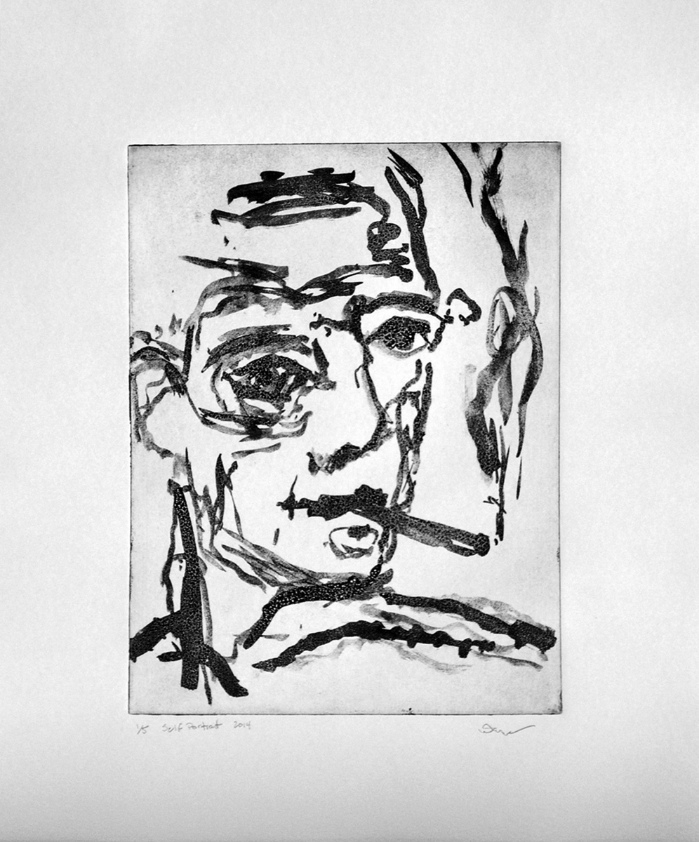T. Oliver Peabody   Self portrait , 2014 Sugarlift aquatint