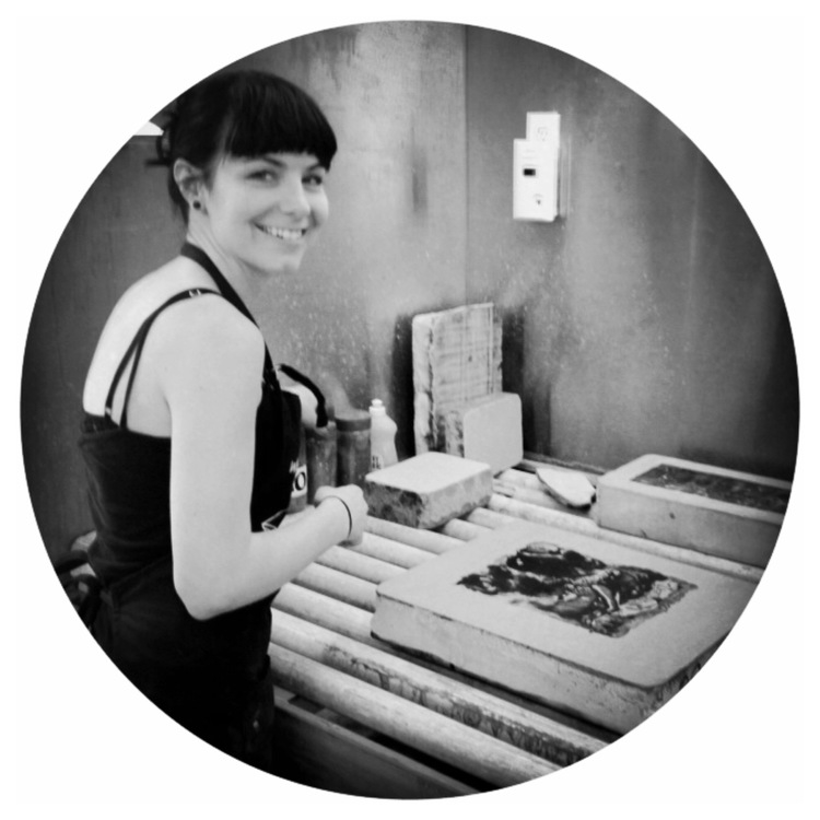 Katie O'Brien, monitor since June 2015  Katie graduated from the Art Institute of Boston at Lesley University in 2010. Katie is a photographer, printmaker, and mixed media artist.Her primary printmaking focus is stone lithography, but she is skillful with photolithography as well.