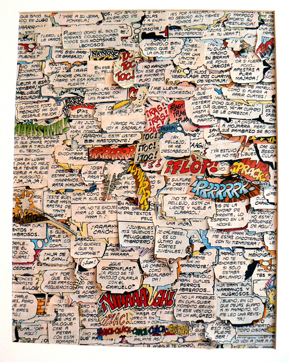 Image credit: Blanka Amezkua,  Untitled,  2016, Collage of text bubbles from recycled Mexican adult comic books, Courtesy of the artist