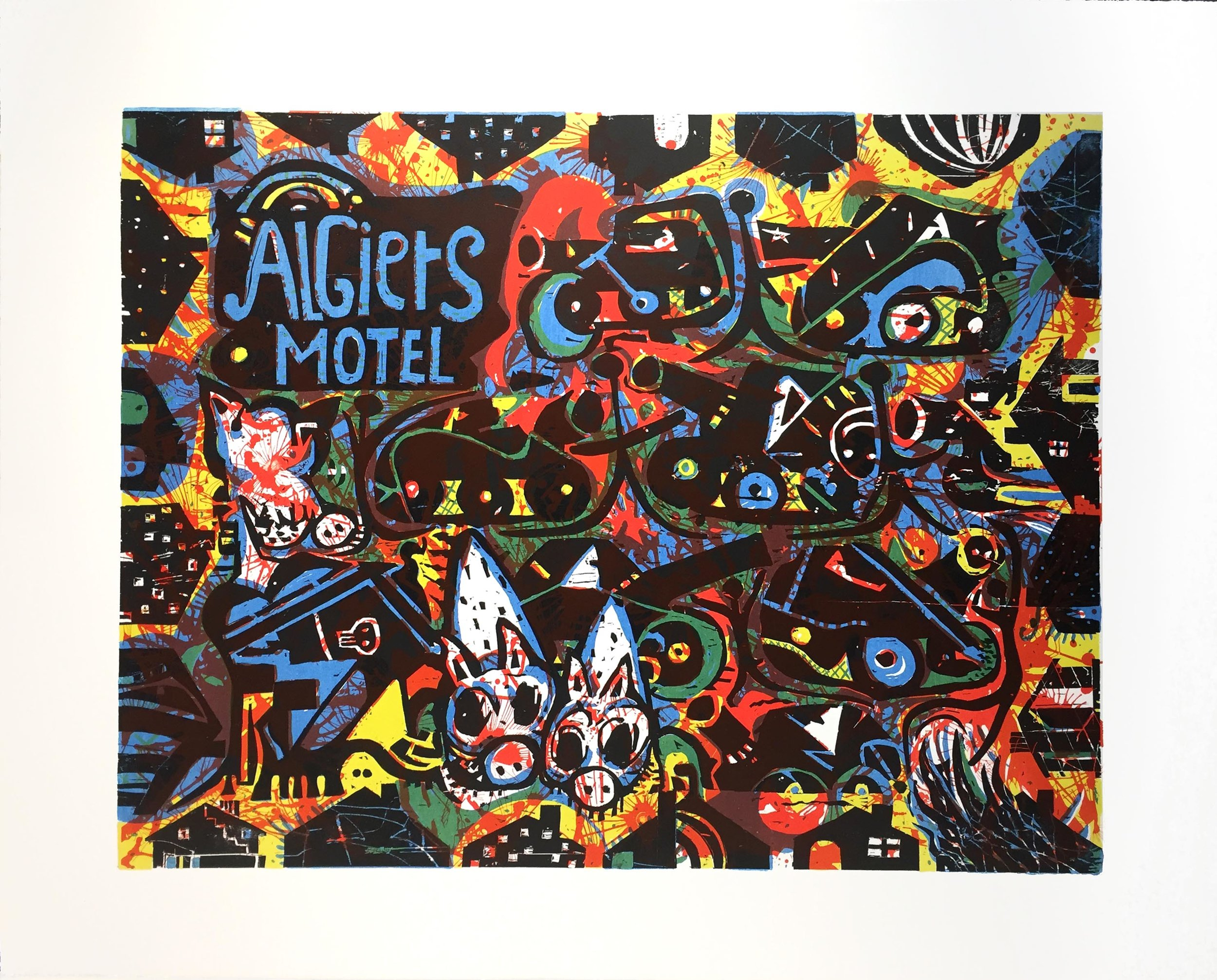 Algiers Motel  2017 Woodcut and Lithograph, 29 x 36 in. Edition: 20