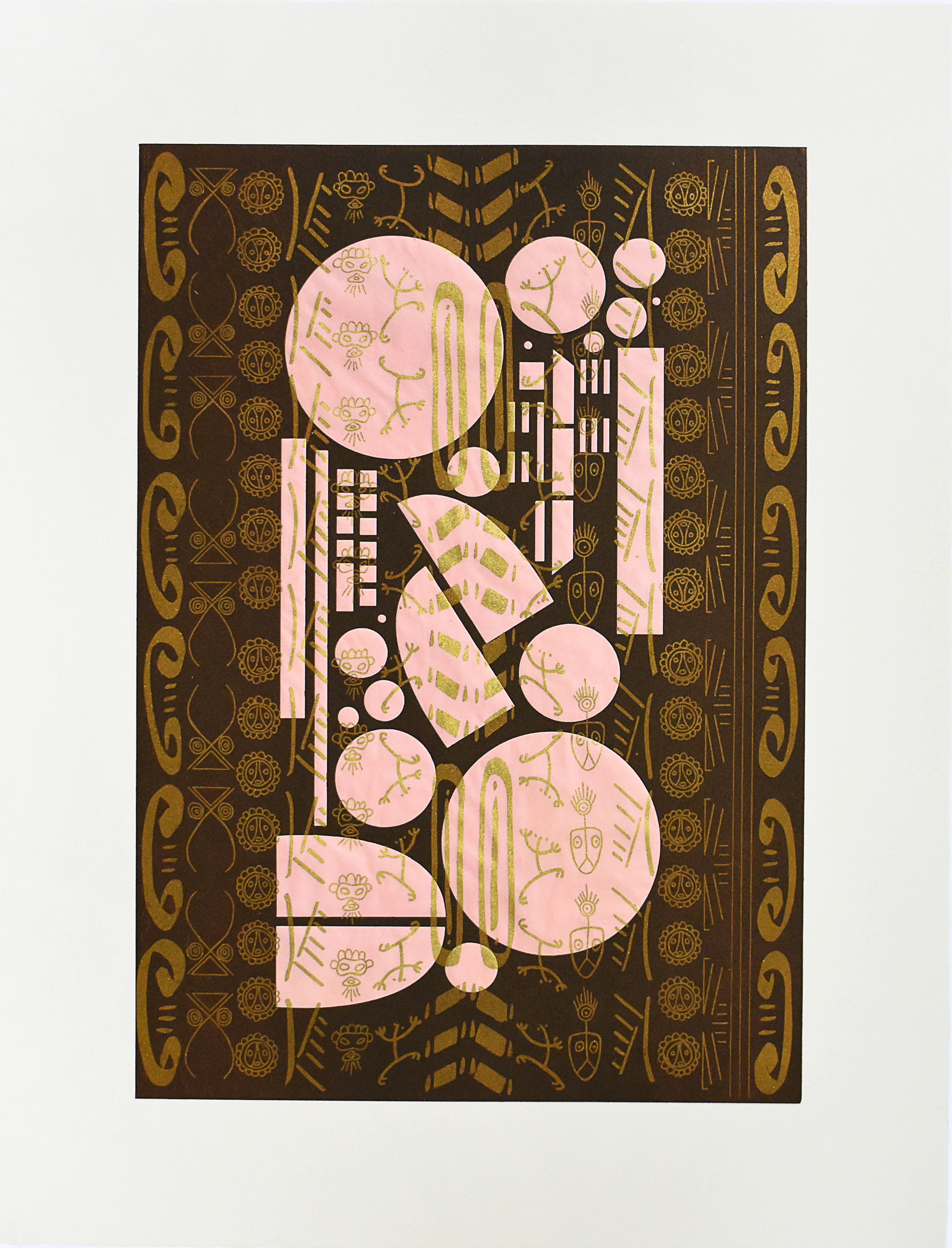 GLENDAYLS MEDINA  BrownPinkTaínoBlackGold  2018  Photolithograph printed in gold ink on pink Yatsuo paper, flocked with gold pigment. Overprinted with brown relief roll from laser cut plexiglass; 26 x 20 in. Edition: 10