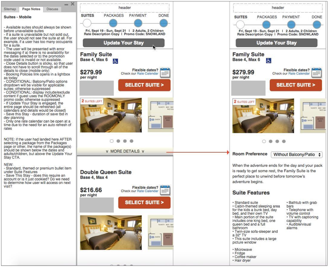 Select Suite page, mobile breakpoint, showing included annotations detailing business rules impacting the UX.