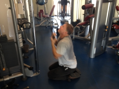 """Don in the weight room in his business clothes plus an old dirty T shirt, living the philosophy of """"So What?"""""""