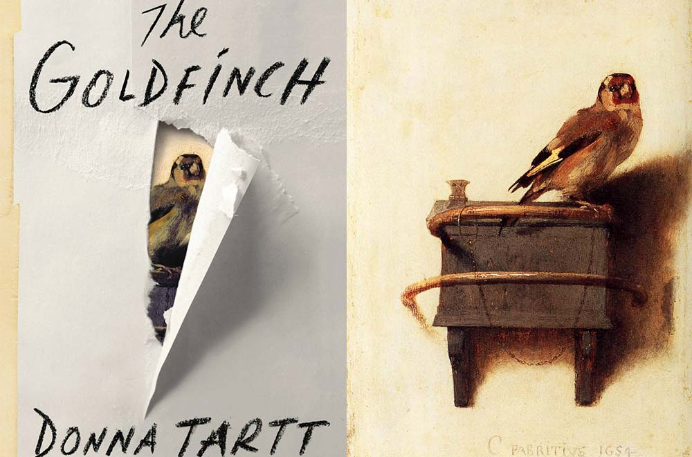 The book cover on the left, the painting of 1654 on the right, that sets our story in motion.