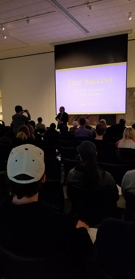 A well attended public talk on True Success at a great university's beautiful art gallery, April 30, 2019.