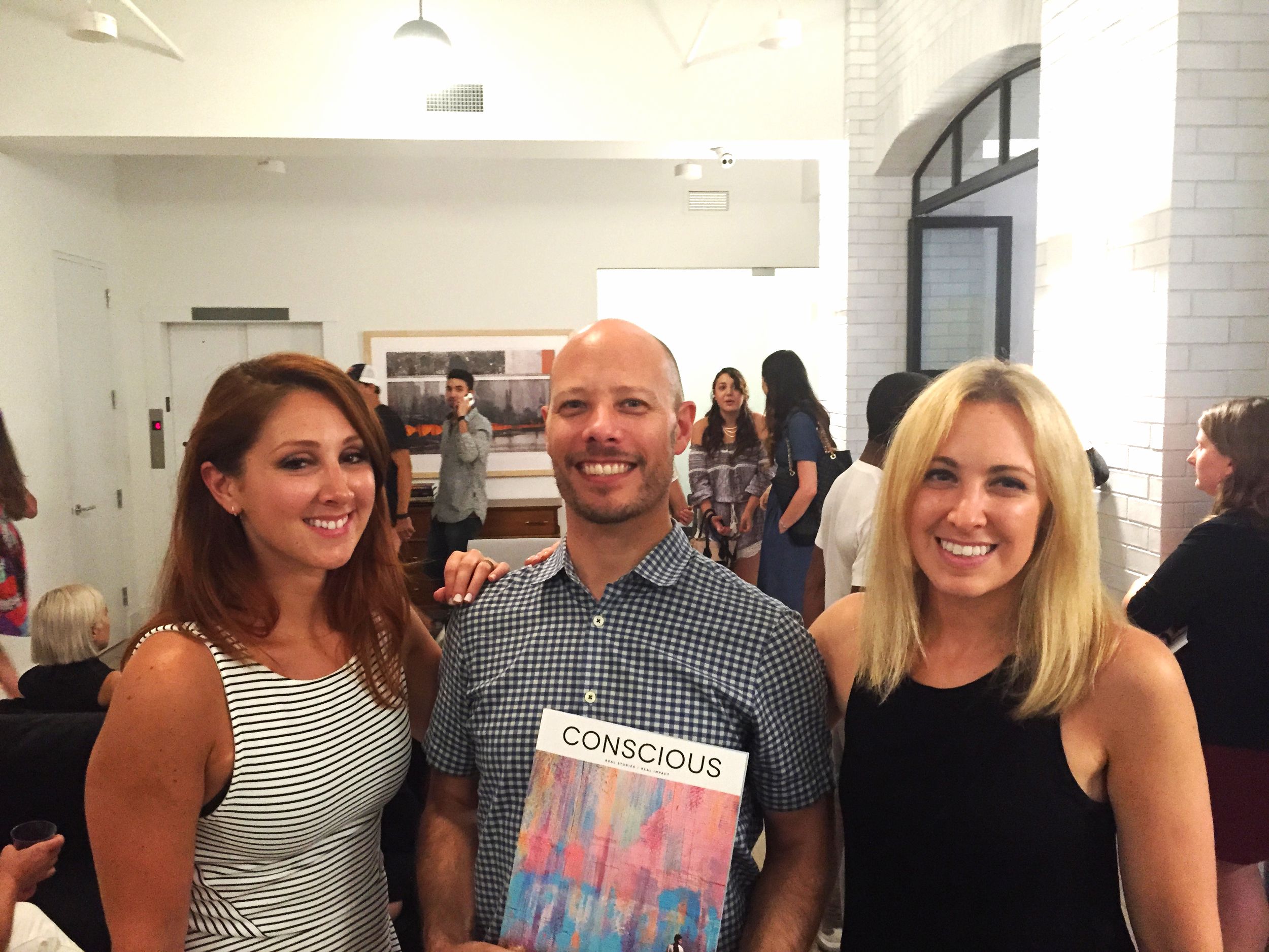 Co-founders Rachel and Elena with Alex.