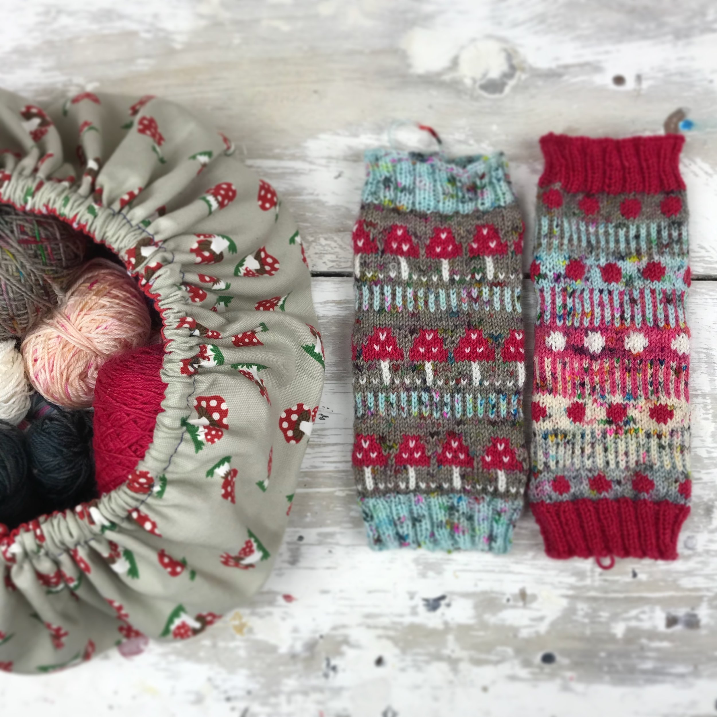 Scrappy Wrist Warmers - Of course I would be recommending another tube project! If socks are just a bit far out of your comfort zone but you would like to build your way towards making one then a Wrist Warmer is the way to go!you can download a free pattern in the shop section and it really is a perfect stash busting project. As with my socks, I never make two the same, makes the squish stretch further!