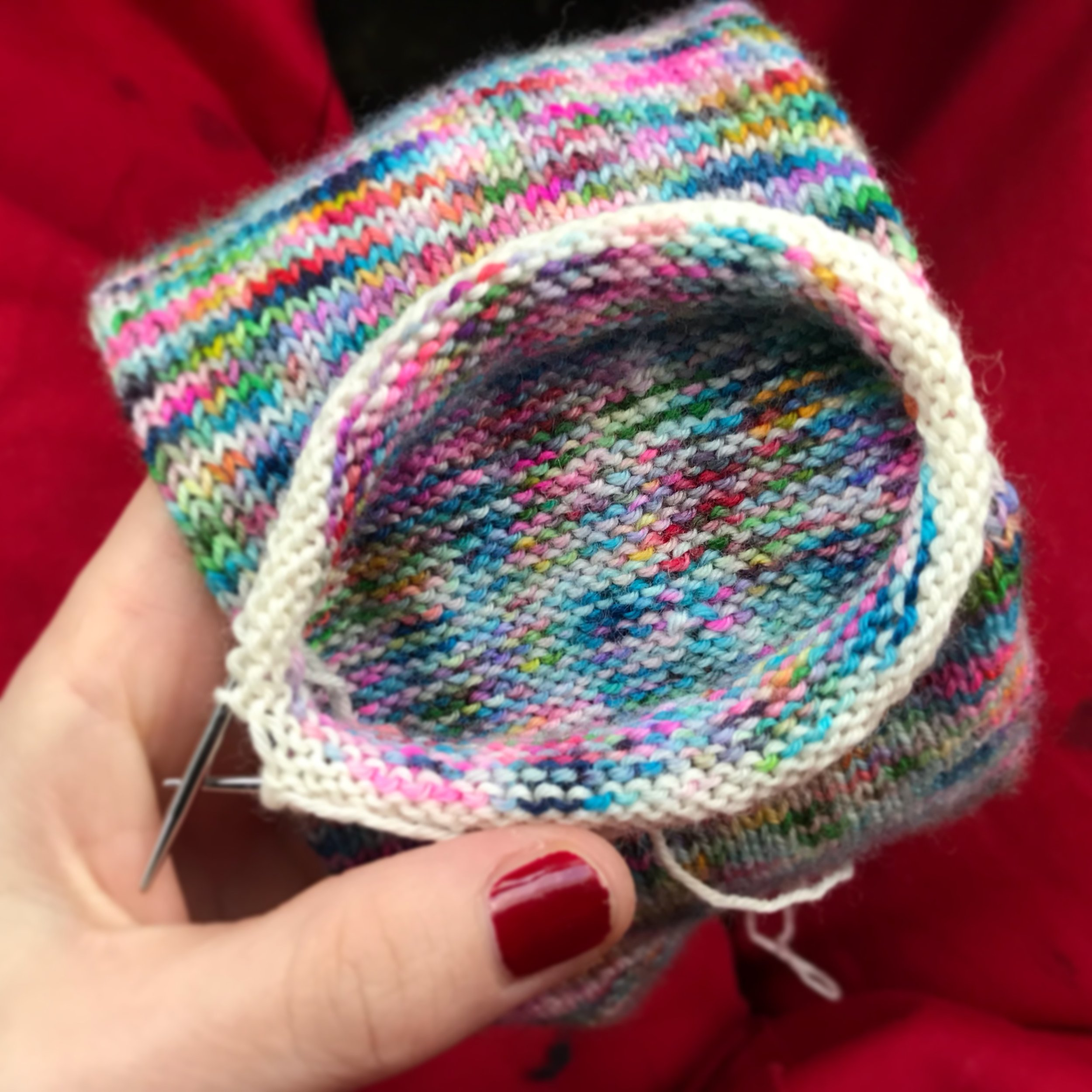 Afterthought Heel - I am not fabulous at reading patterns, so heels remained a mystery to me until I learned of the afterthought heel. It allows you to knit a whole tube, the whole sock and then you just add the heel! perfect! its a great heel if you are using stripy yarns or patterned yarns that should not be disturbed when adding the heel. for a fabulous tutorial, follow the link to take you to Louise Tillbrooks Blog to demistify the afterthought heel!