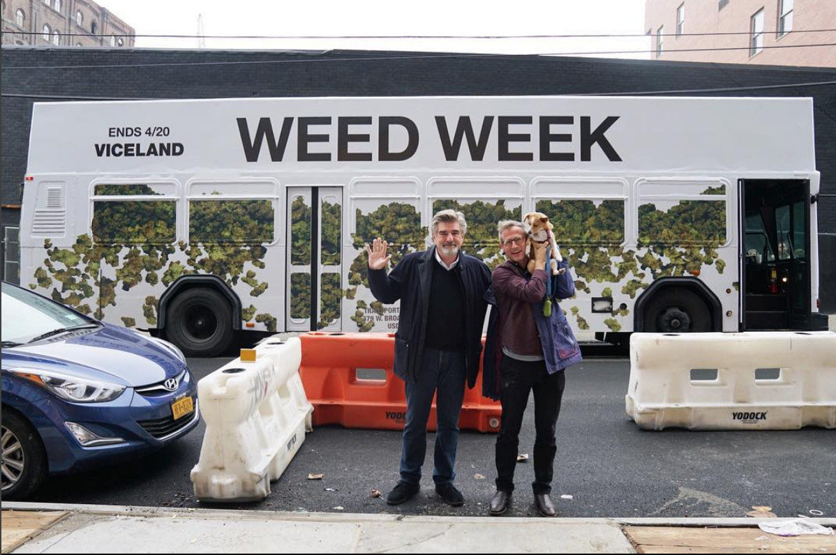 Tom Freston and Spike Jonze in front of the Weed Week bus