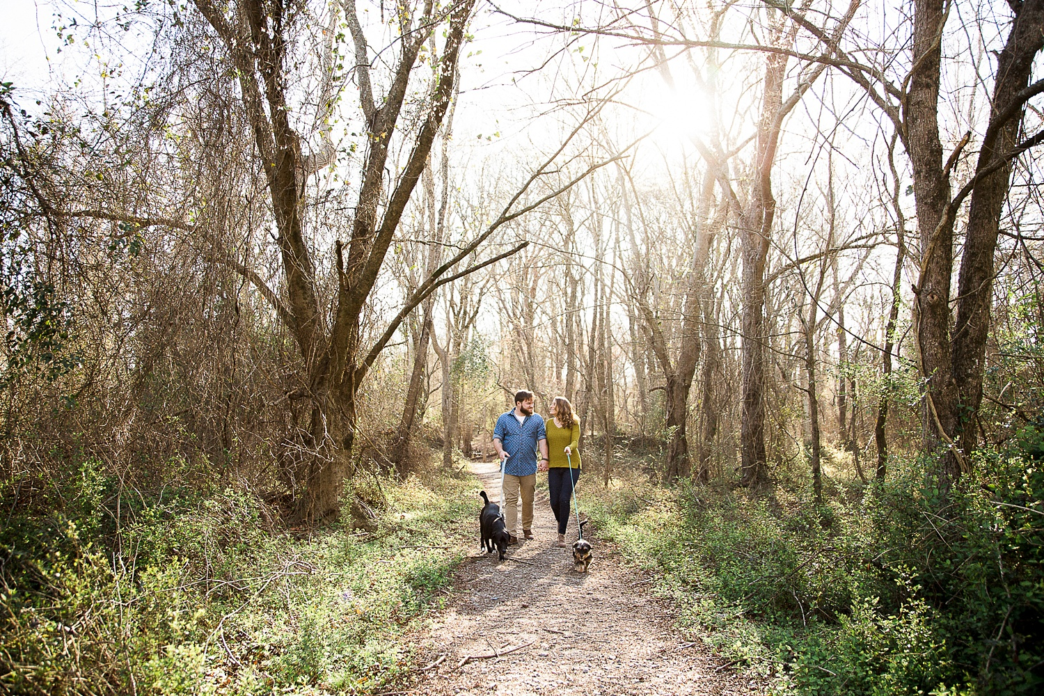 couple strolls with dogs in the woods