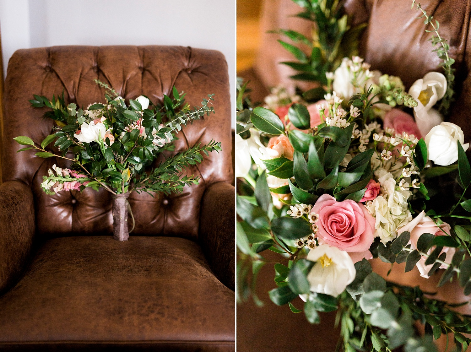 bride's bouquet rests in a weathered leather chair