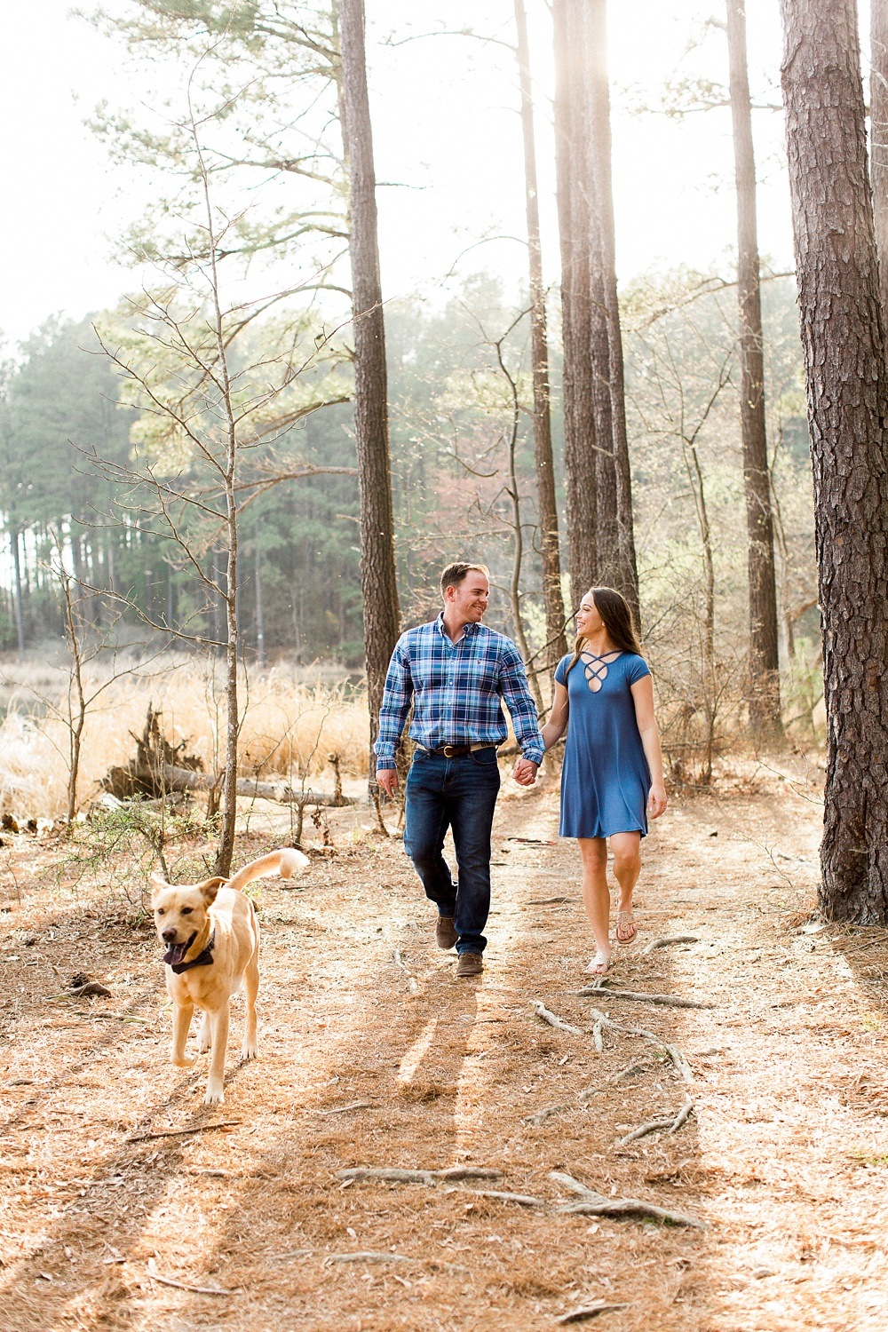 engaged couple walks in the woods with their dog