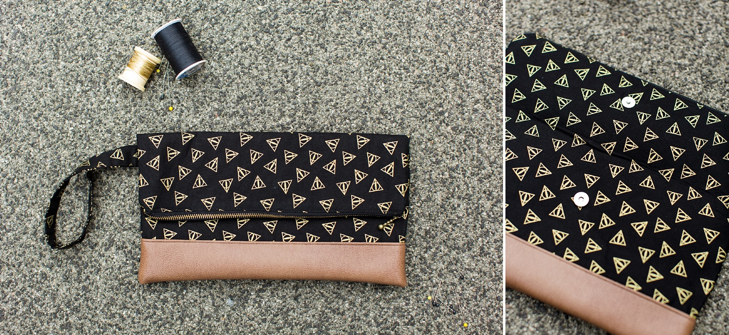 deathly hallows print clutch bag, The Essential Stitch etsy shop