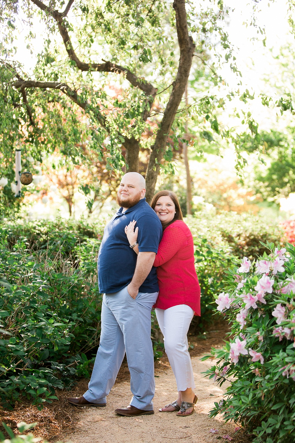 engagement session at the WRAL Azalea Garden