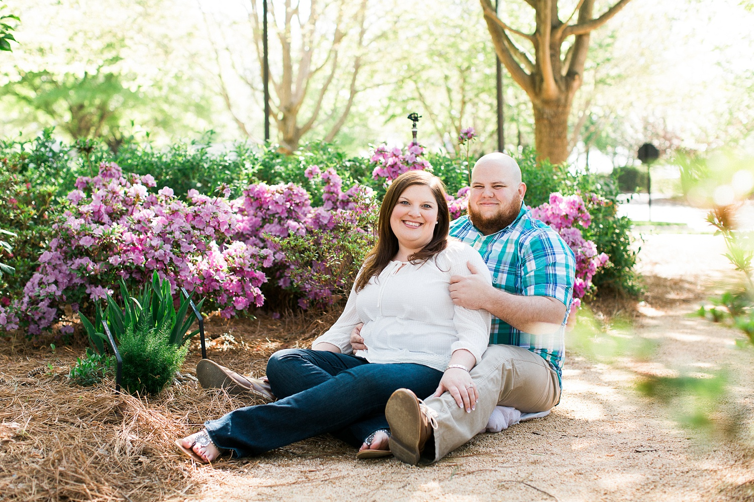 Engagement session at the WRAL Azalea garden in downtown Raleigh