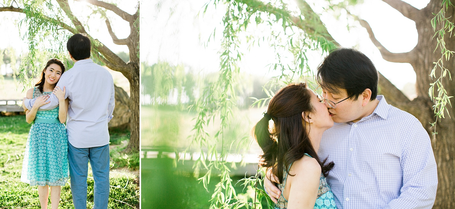 Engagement session under a willow tree
