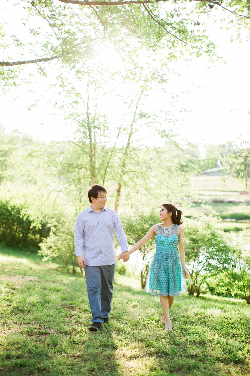 spring engagement session in downtown raleigh