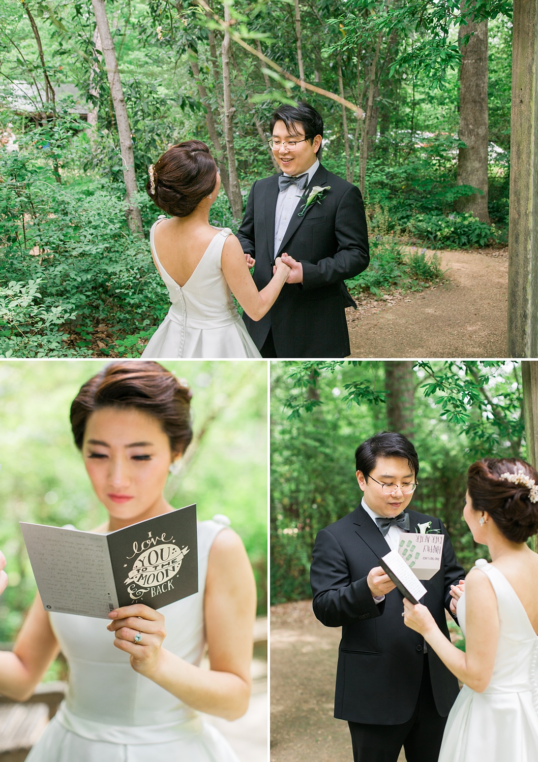 bride + groom share a first look at the unc botanical gardens