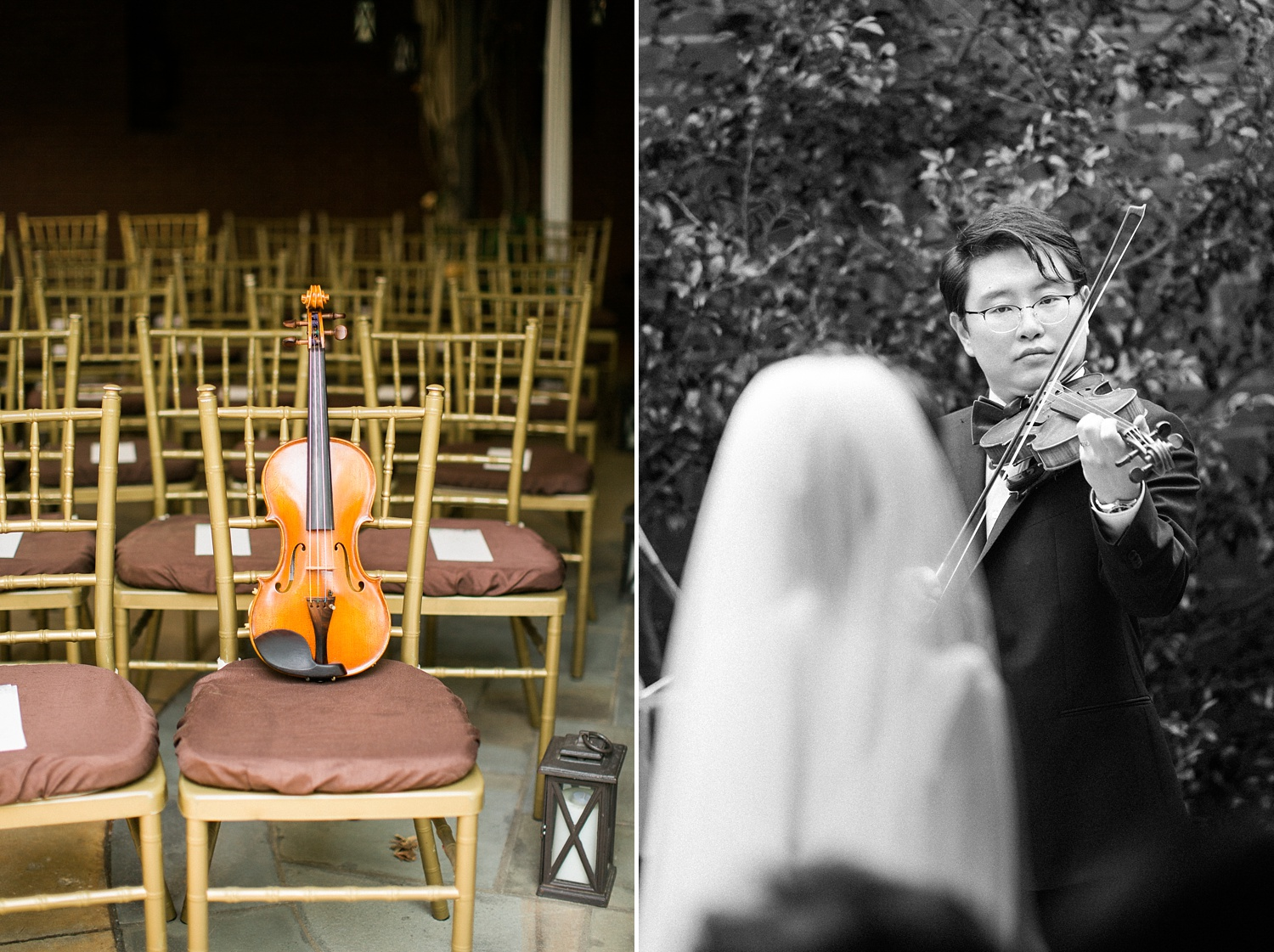 groom plays a violin solo for his bride