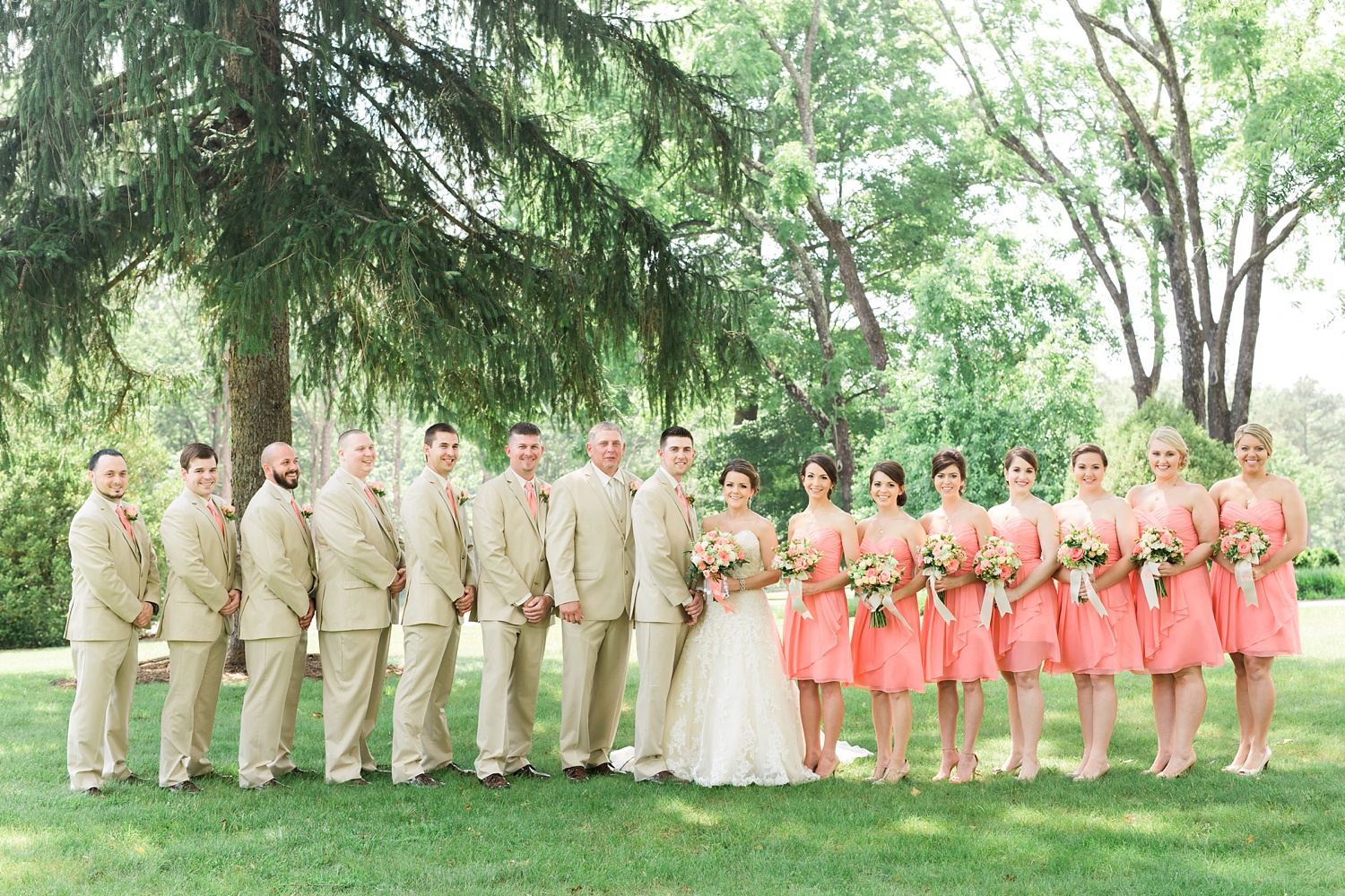 wedding party poses on a green lawn for their group portrait