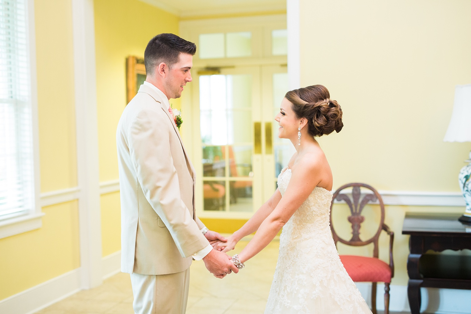bride and groom see each other at their first look before their wedding ceremony