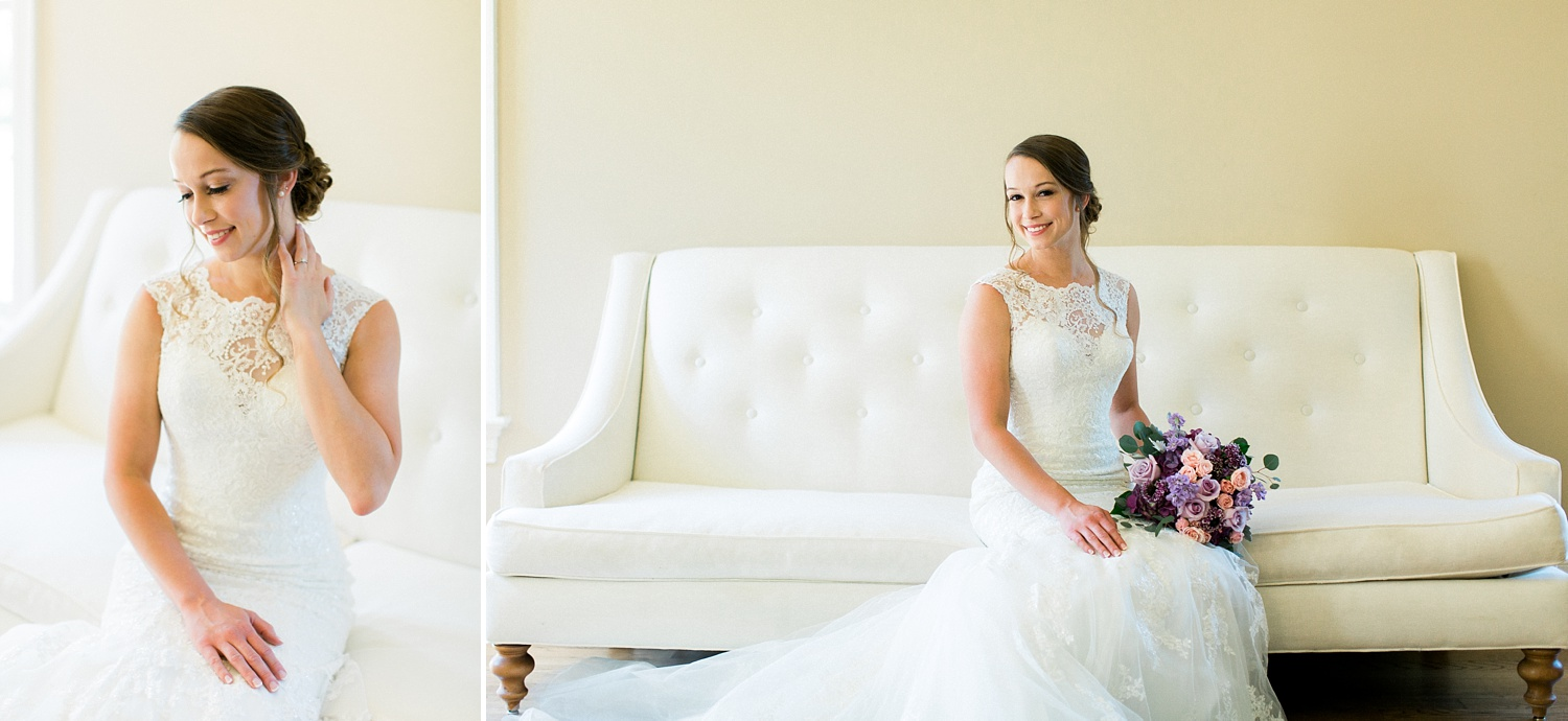 bridal portraits in the bridal suite at the oaks at salem