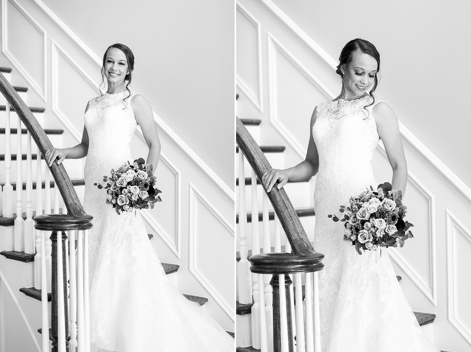bridal portrait on the stairway at the oaks at salem