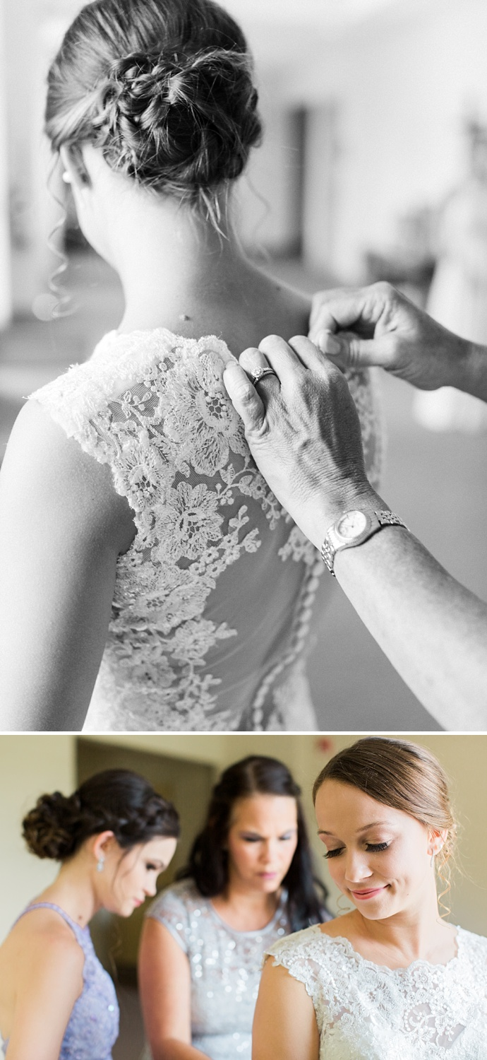 mother buttons bride into her gown