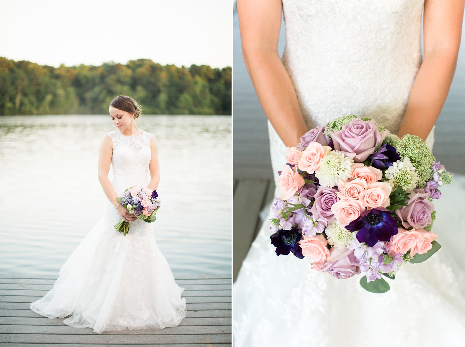 bride stands on the dock at bass lake park in holly springs, nc