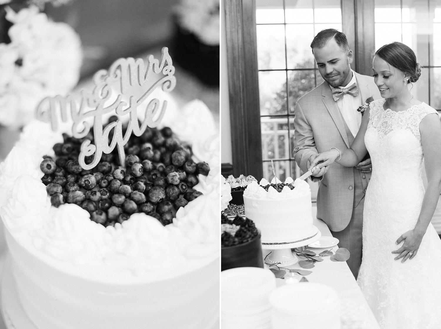 bride and groom cut the wedding cake at their reception