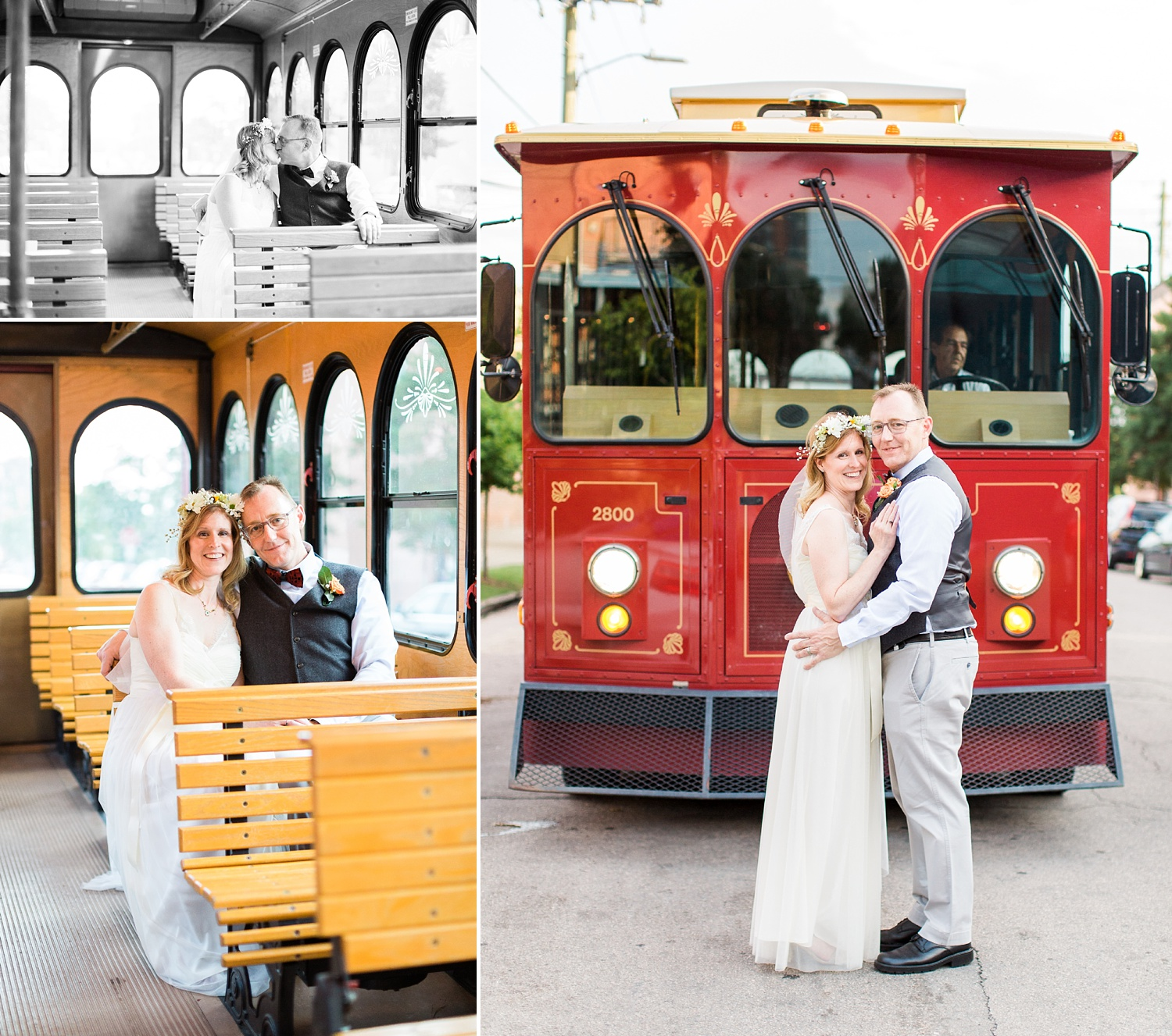 bride and groom portraits with the raleigh trolley