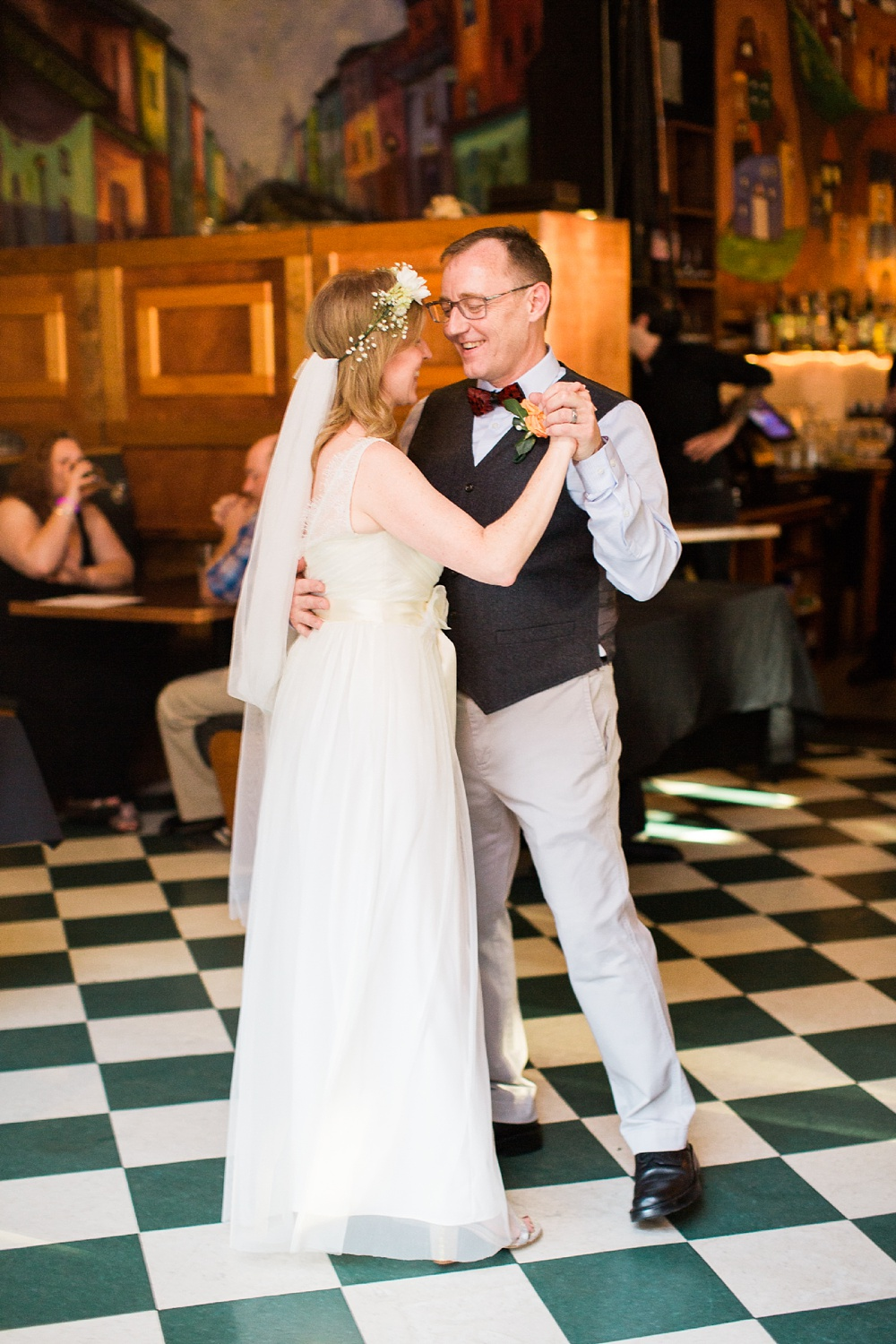 bride and groom's first dance at their humble pie reception