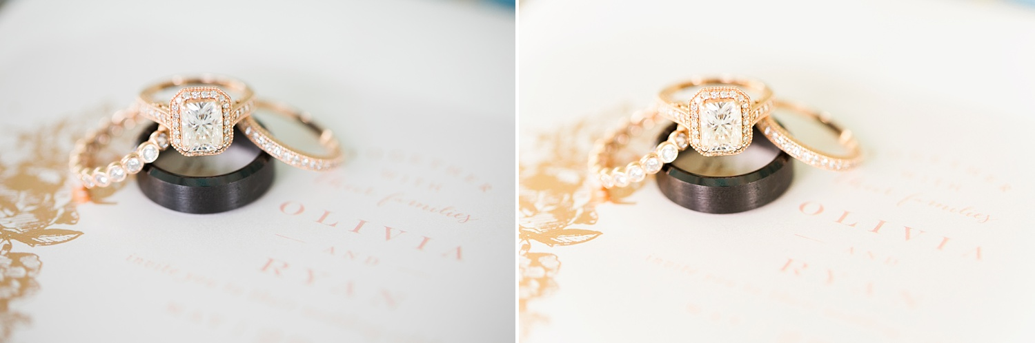 comparison of two edits on a wedding ring shot